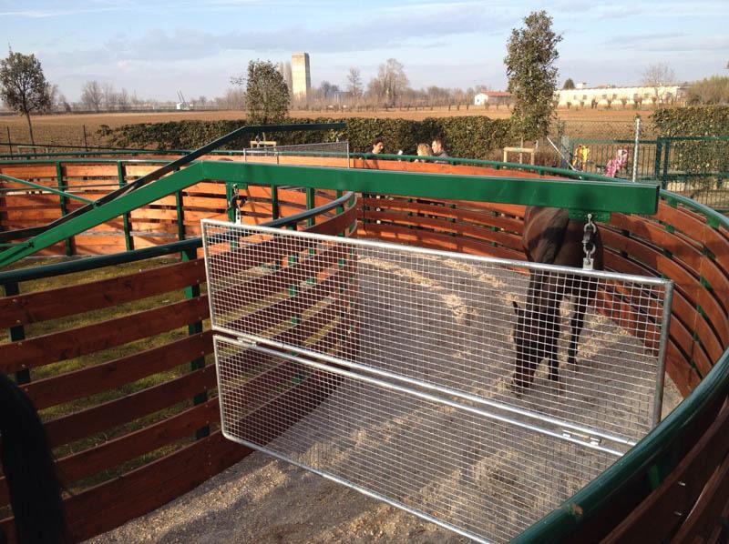 giostra da lavoro per quattro cavalli finitura in legno diametro 14 metri