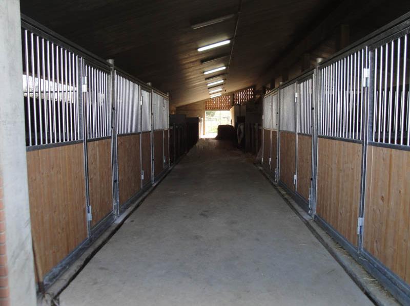 scuderia per cavalli in legno e ferro zincato con pareti completamente apribili